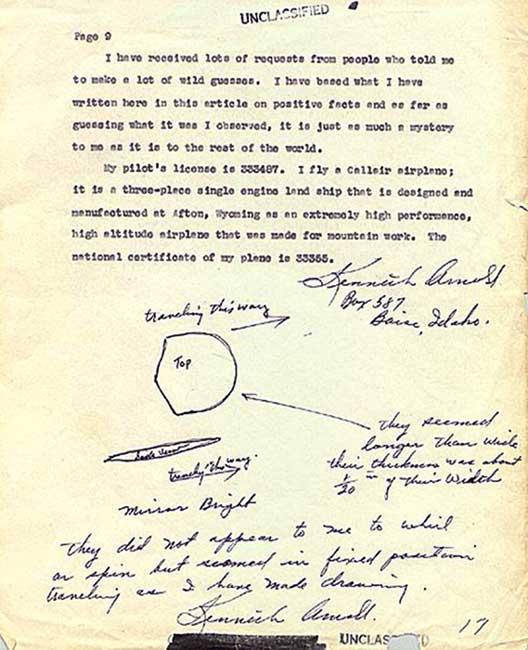 Kenneth Arnold UFO original report.